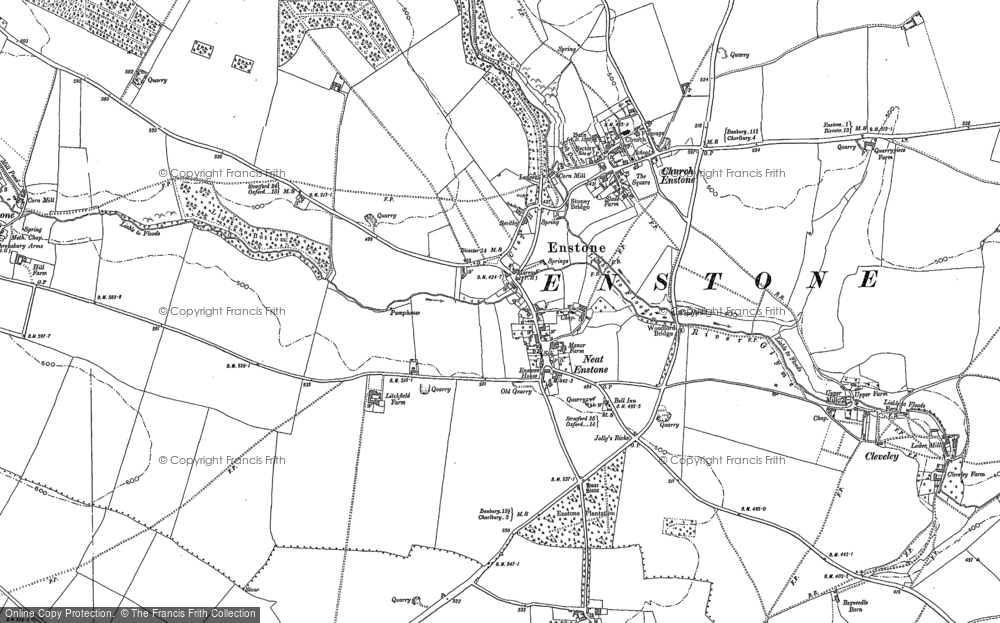 Old Map of Enstone, 1898 in 1898