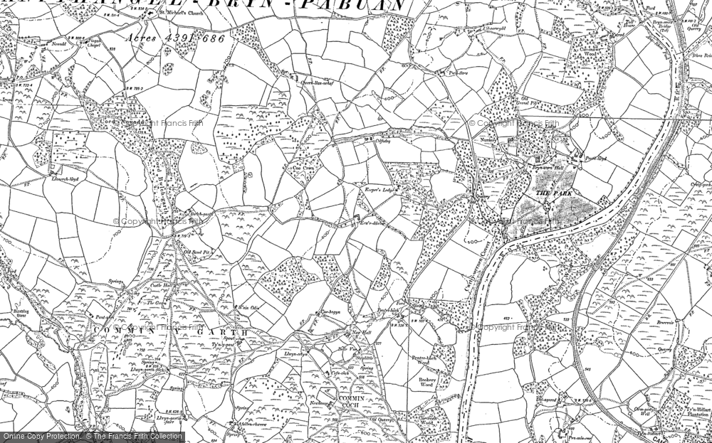 Old Map of Historic Map covering Allt y Clych in 1902