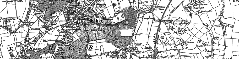 Old map of Esher in 1895