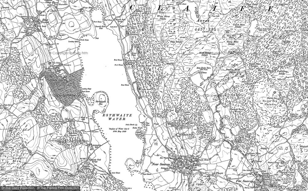 Old Map of Esthwaite Water, 1912 in 1912