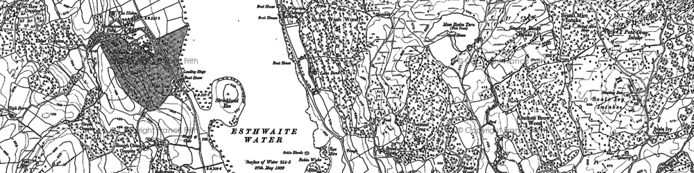 Old map of Esthwaite Water in 1912