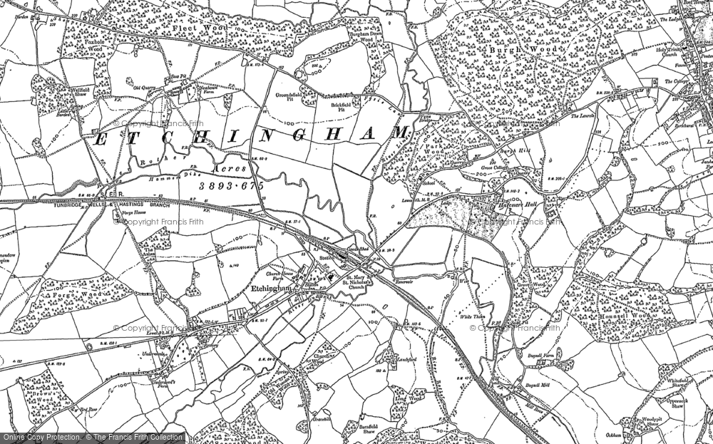 Old Map of Etchingham, 1908 in 1908