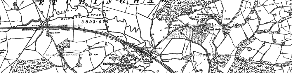 Old map of Etchingham in 1908