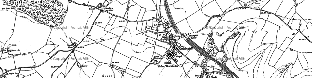 Old map of Etchinghill in 1897