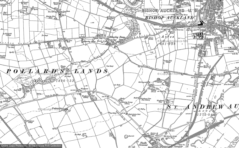 Old Map of Historic Map covering Woodhouses in 1896