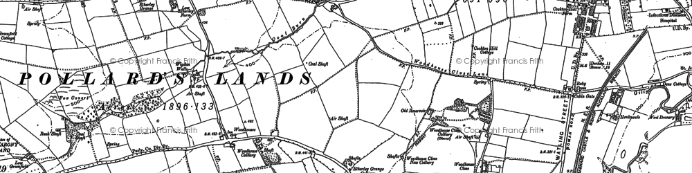 Old map of Woodhouses in 1896