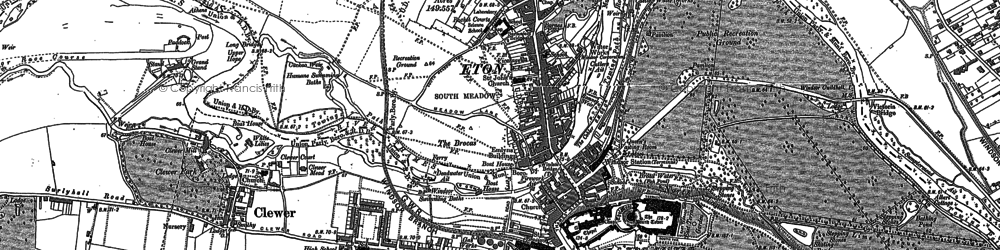 Old map of Clewer Village in 1910