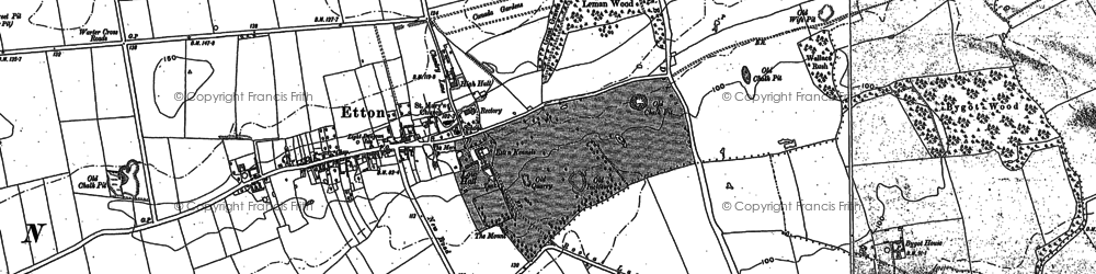 Old map of Etton Pasture School in 1889