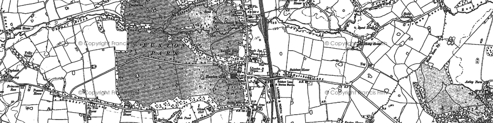Old map of Euxton in 1893