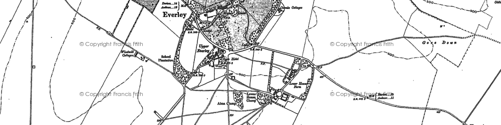 Old map of Everleigh in 1899