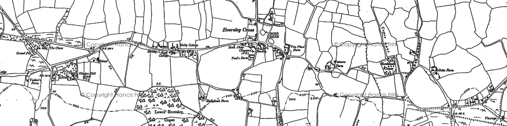 Old map of Eversley Cross in 1909