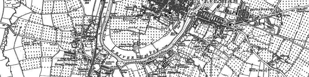 Old map of Evesham in 1884