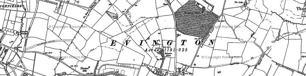 Old map of Evington in 1884