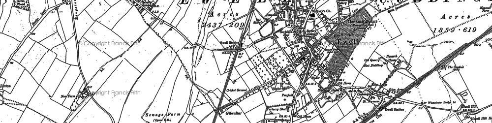 Old map of Ewell in 1894