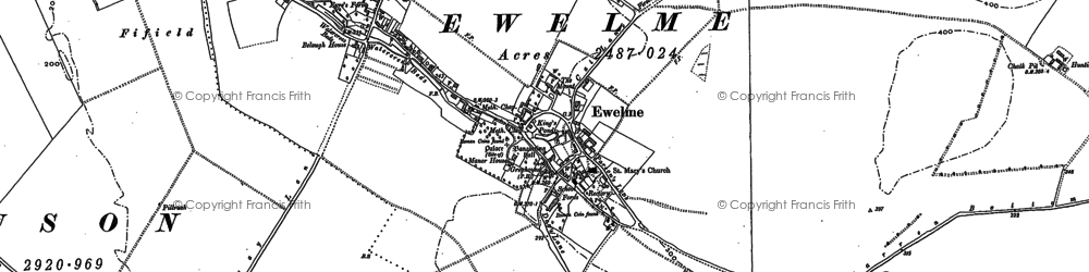 Old map of Ewelme in 1897