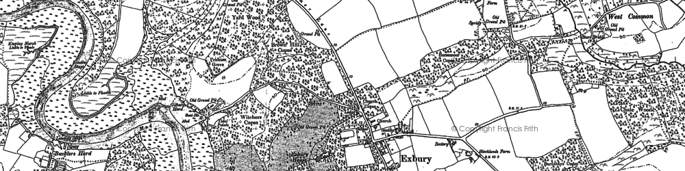 Old map of Exbury in 1895