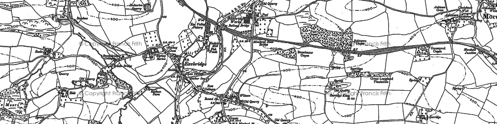 Old map of Exebridge in 1902