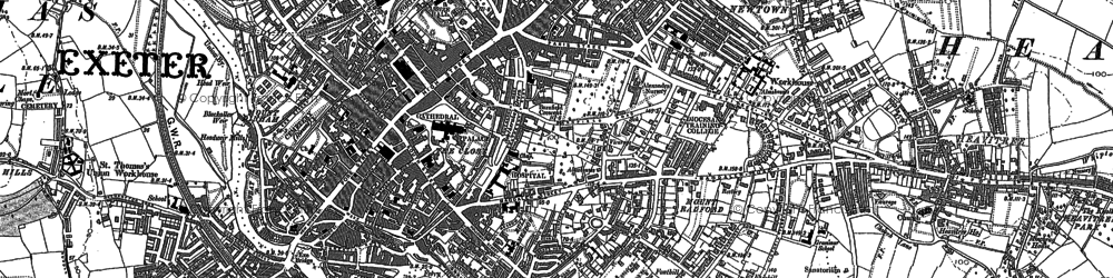 Old map of Exeter in 1887