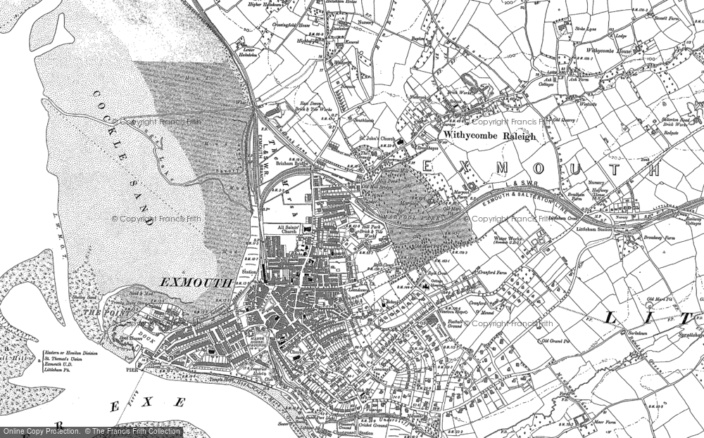 Old Map of Exmouth, 1888 - 1904 in 1888