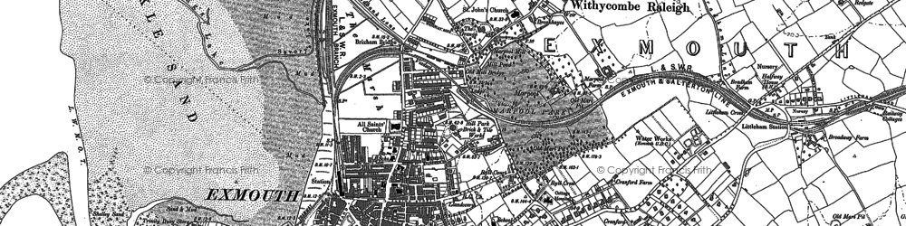 Old map of Exmouth in 1888