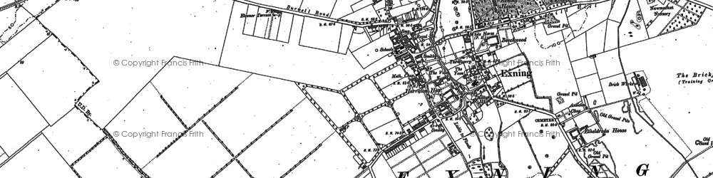 Old map of Exning in 1884