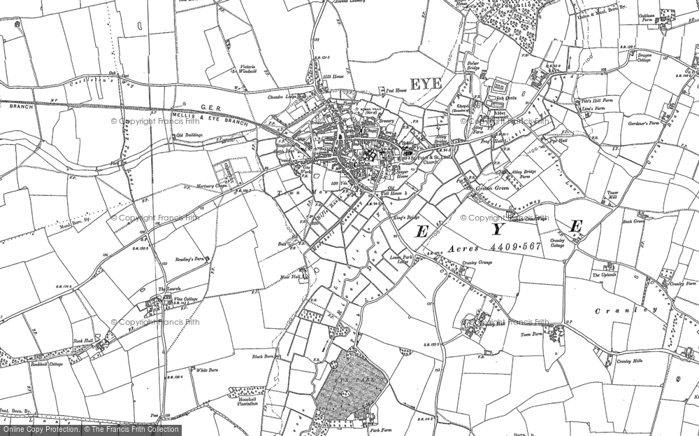 Old Map of Historic Map covering Langton Green in 1903