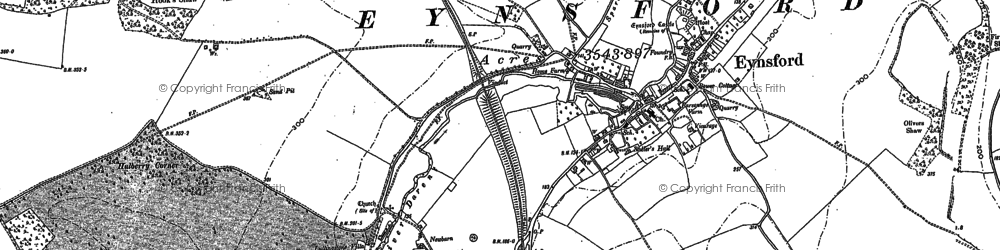 Old map of Eynsford in 1895
