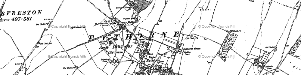 Old map of Eythorne in 1872