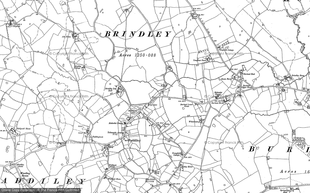 Old Map of Historic Map covering Baddiley Mere in 1897