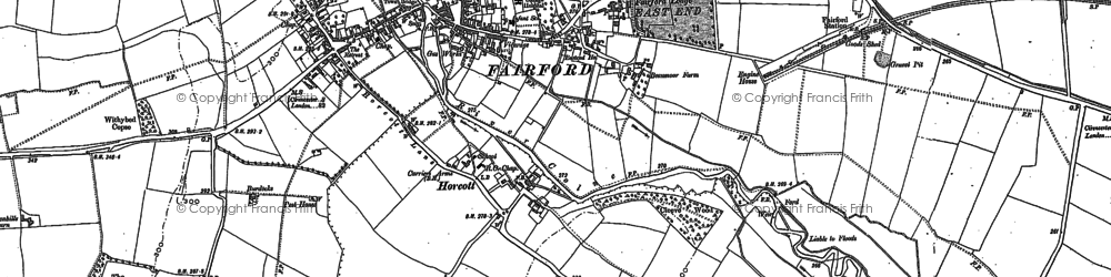 Old map of Fairford in 1876