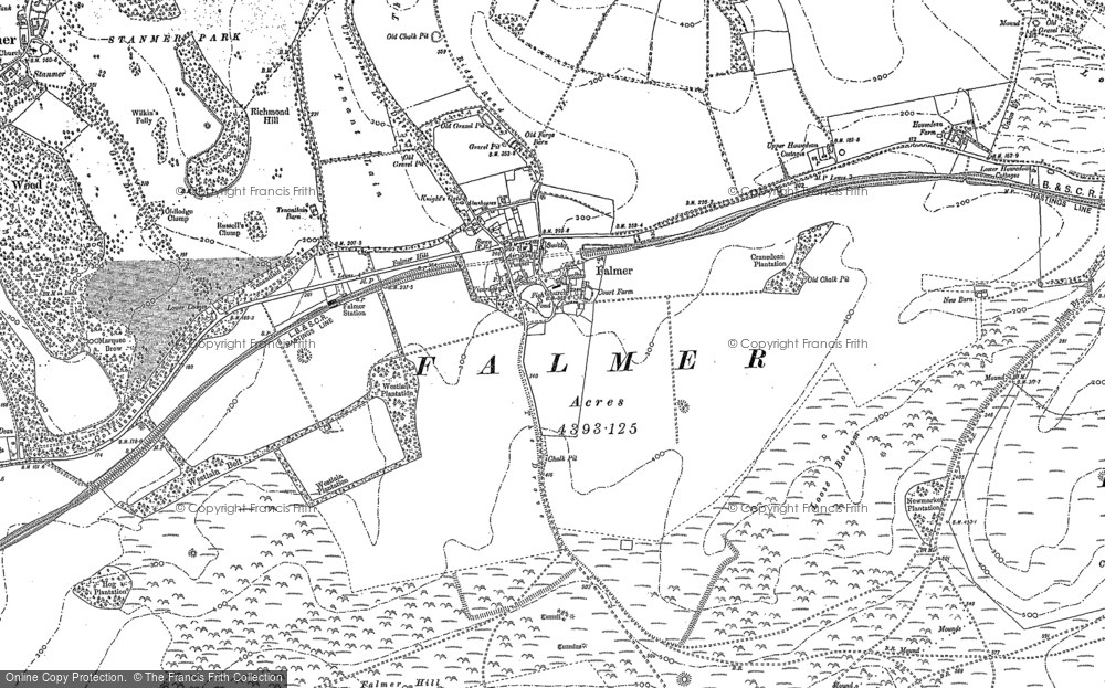 Old Map of Historic Map covering Balmer Down in 1897