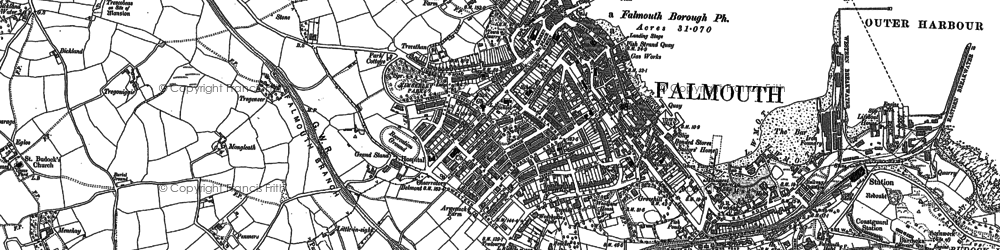 Old map of Falmouth in 1906