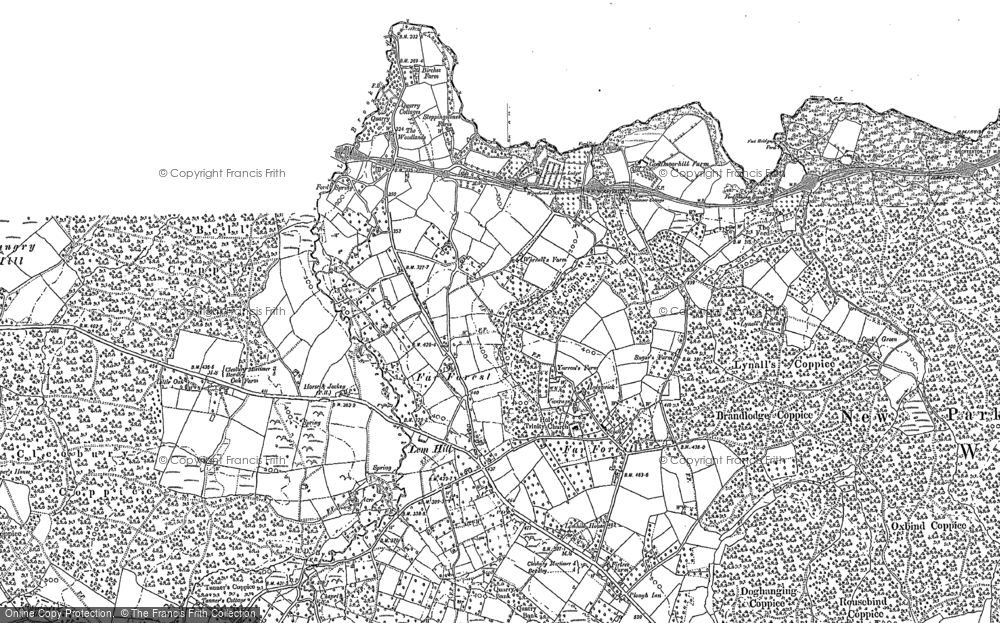 Old Map of Historic Map covering Lem Brook in 1883