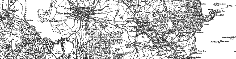Old map of Far Sawrey in 1912