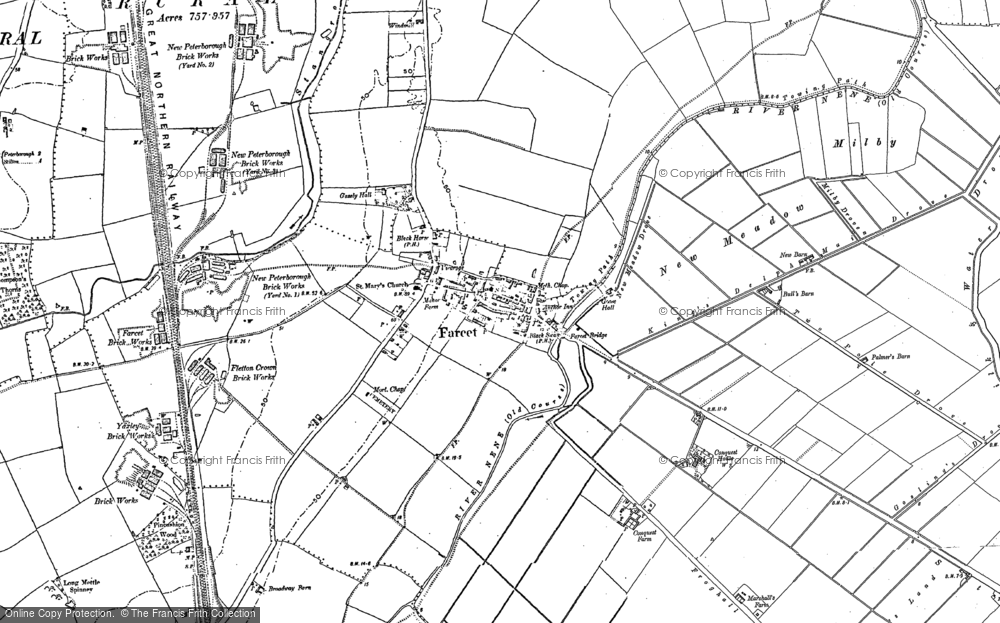 Old Map of Farcet, 1887 - 1900 in 1887