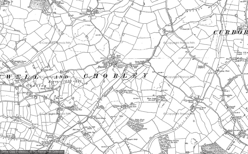 Old Map of Historic Map covering Ashmore Brook in 1902