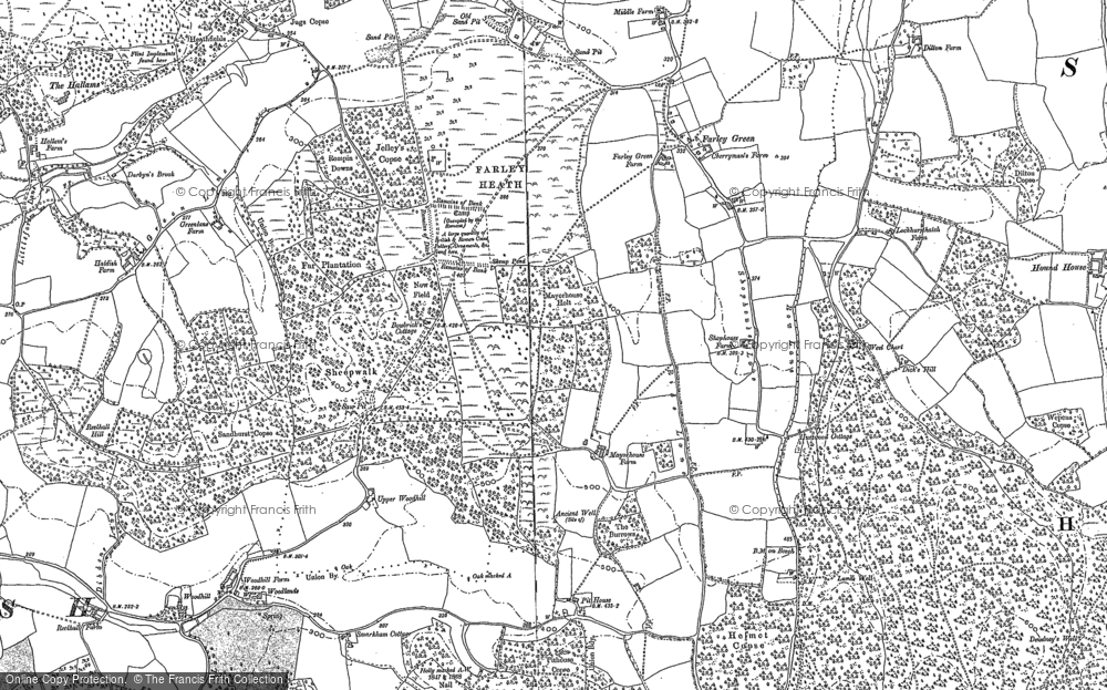 Old Map of Historic Map covering Albury Heath in 1895