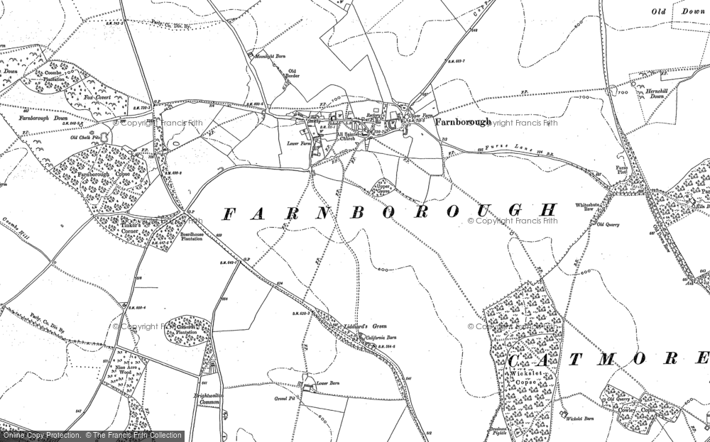 Old Map of Historic Map covering Lattin Down in 1898