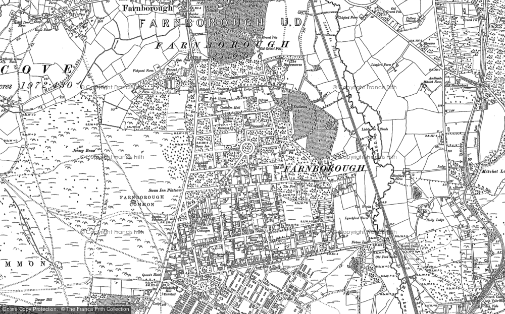 Old Map of Farnborough, 1909 in 1909