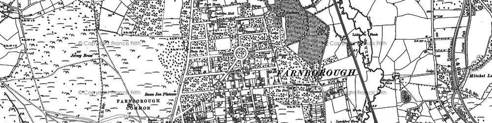 Old map of Farnborough in 1909