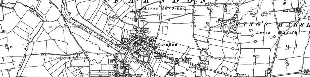Old map of Farndon in 1909