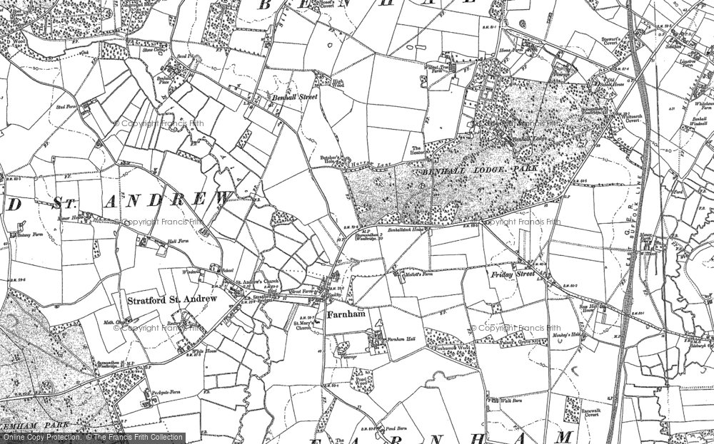 Old Map of Historic Map covering Langham Br in 1882