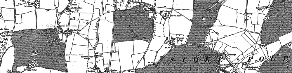Old map of Farnham Royal in 1897