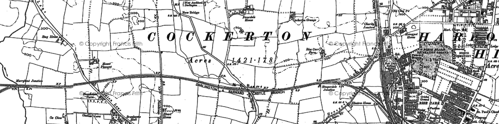 Old map of Whessoe Cott in 1896