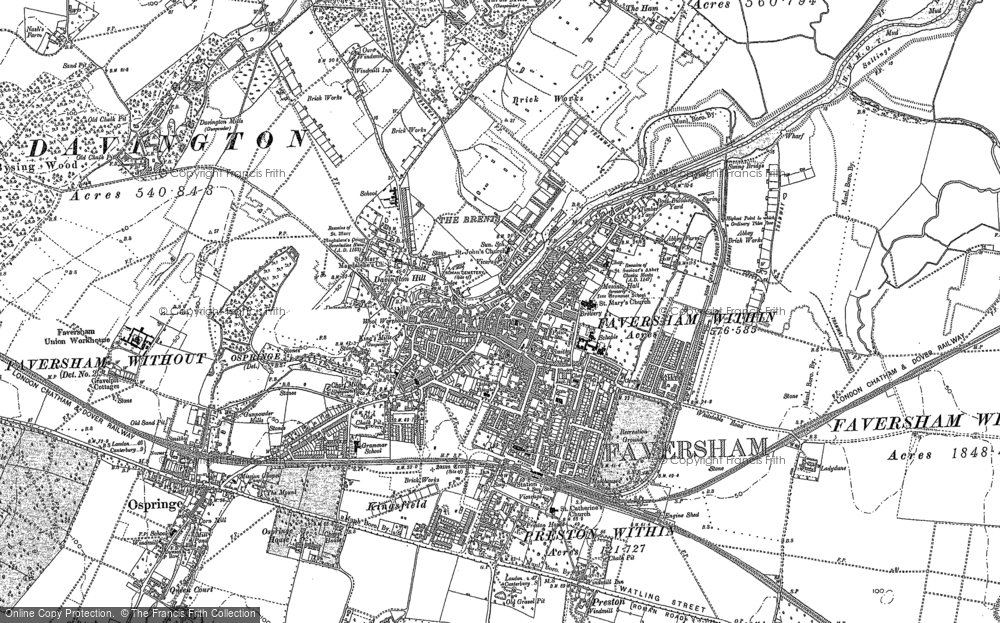 Old Map of Faversham, 1896 in 1896