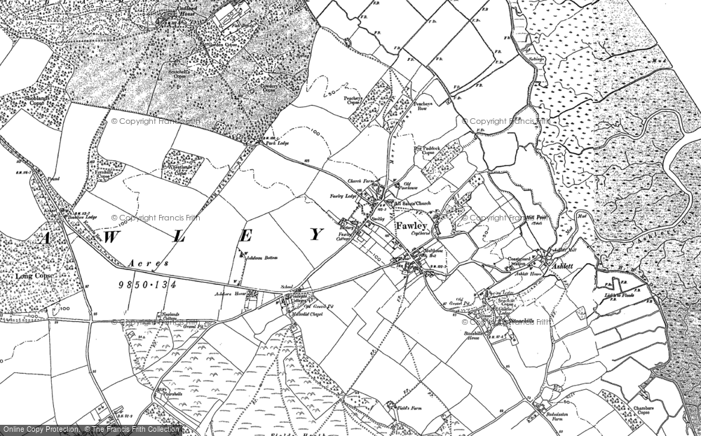 Old Map of Historic Map covering Ashlett in 1895