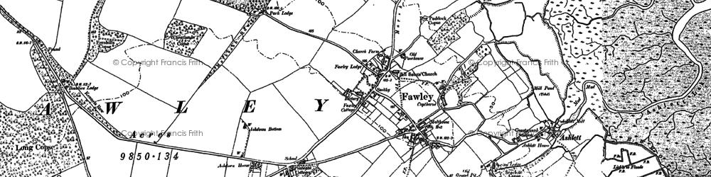 Old map of Ashlett in 1895