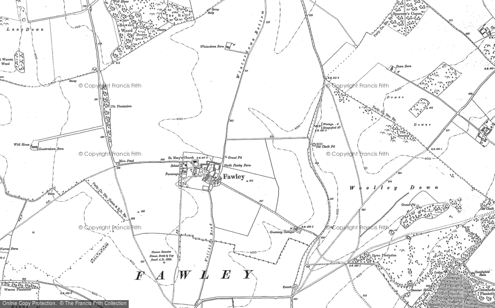 Old Map of Fawley, 1898 in 1898