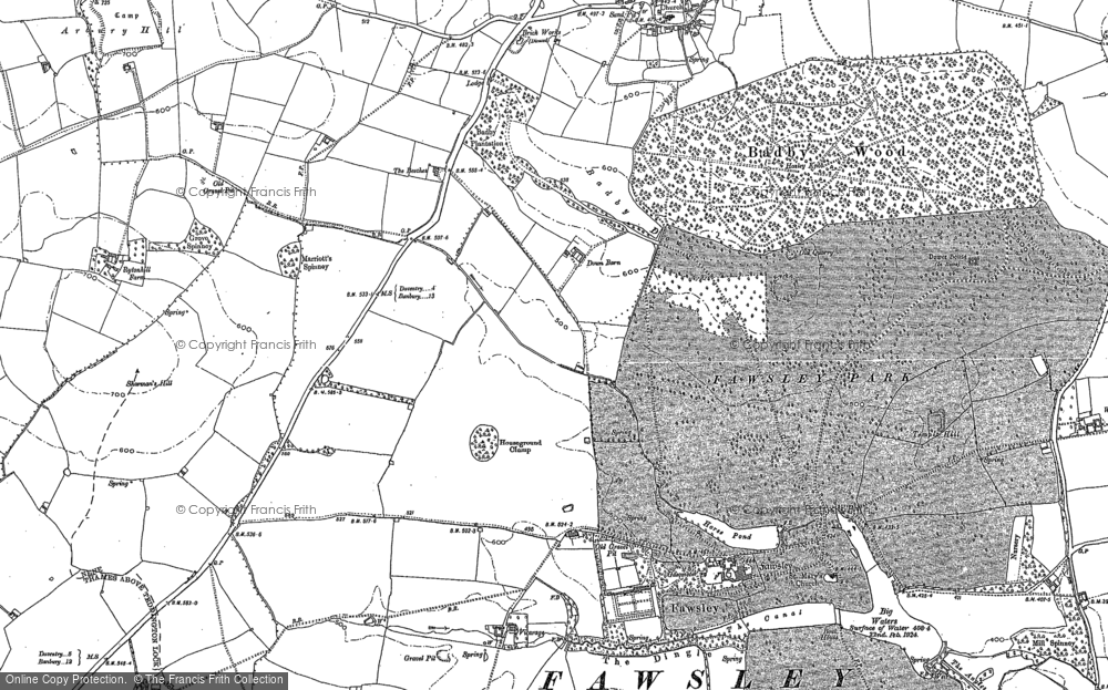 Old Map of Historic Map covering Badby Down in 1883