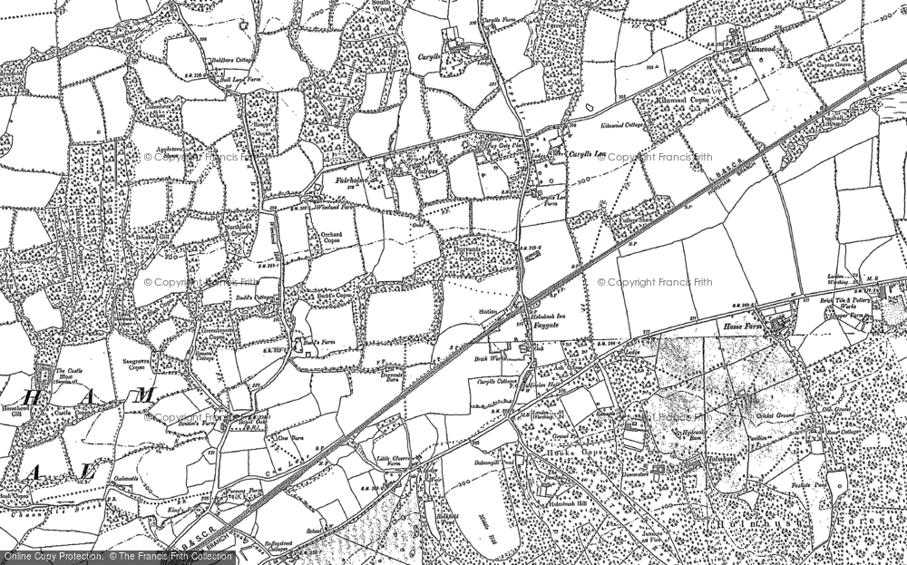 Old Map of Historic Map covering Middle Hill in 1896